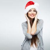 Portret van vrouw in kerstman hoed — Stockfoto