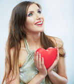 Kvinna med hjärtat — Stockfoto
