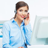 Portrait of woman customer service worker, call center smiling — Stock Photo