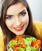 Woman eating salad . — Stock Photo