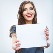 Woman holding blank paper — Stock Photo