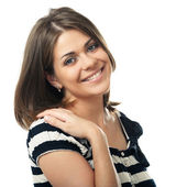 Smiling woman isolated portrait — Stock Photo