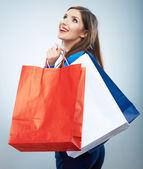 Kvinna anläggning shoppingväska — Stockfoto