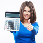 Young woman hold digital calculator. Female smiling model white — Stock Photo