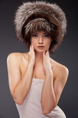 Young woman hair style fur portrait — Stock fotografie