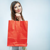 Happy smiling woman with shopping bag — Stock Photo