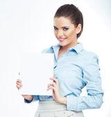 Business woman holding paper banner — Fotografia Stock