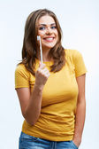 Woman with toothy brush — Stock Photo