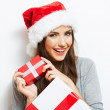 Woman in santa hat — Stock Photo