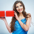 Young woman with red gift box — Foto de Stock