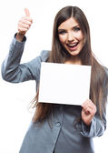 Business woman holding blank banner and thumb up — Stock Photo