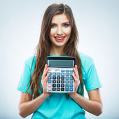 Isolated woman hold count machine. Isolated female portrait. — Stock Photo