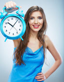 Woman holding watch — Foto de Stock