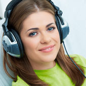 Woman relaxing with headphones — Stok fotoğraf