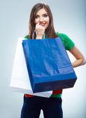 Mulher segurando sacola de compras — Fotografia Stock