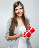 Portrait of woman holding gift box — Stock Photo