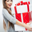 Woman hold gift box — Photo