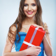 Woman hold red gift box — Foto de Stock