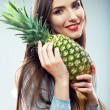 Woman with pineapple — Stock Photo