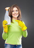 Woman and spray — Stock Photo