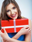 Woman hod gift box — Stock Photo