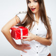 Woman hold christmas gift — Foto Stock