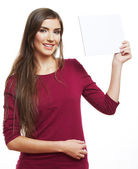 Girl hold blank paper — Stock Photo