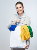 Business kvinna håll shoppingväska — Stockfoto