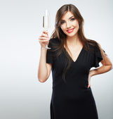 Woman hold wine glass — Stock Photo