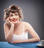 Woman with curler hair — Stock Photo