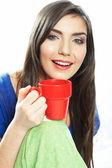 Femme avec une tasse de café — Photo