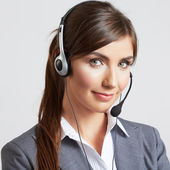 Call center smiling operator — Stock Photo