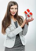 Femme d'affaires avec le concept de vente — Photo