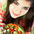 Woman eat salad — Stock Photo #36366355