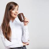 Obchodní žena s cup — Stock fotografie