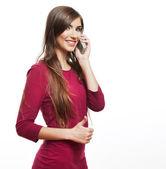 Woman mobile phone talking — Stock Photo