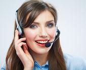 Woman call center operator — Stok fotoğraf