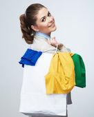 Donna stiva shopping bag — Foto Stock