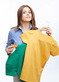Business woman with clothes — Stock Photo