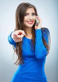 Woman wijzend op u — Stockfoto