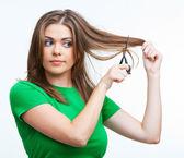 女性の髪のスタイルの肖像画 — ストック写真