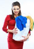 Vrouw wachtruimte shopping bag — Stockfoto