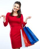 女人举行购物袋 — 图库照片