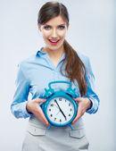 Business woman show big watch — Stock Photo