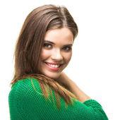 Geïsoleerde vrouw portret — Stockfoto