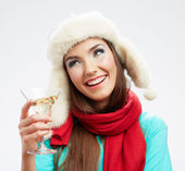 Woman in winter style clothes — Stock Photo