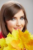 Woman with leaves — Stock Photo
