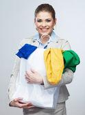 女人保持购物袋 — 图库照片