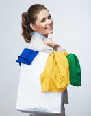 Business woman hold shopping bag — Stock Photo
