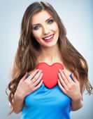 Woman hold heart — Foto Stock
